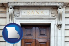 a bank building - with Missouri icon