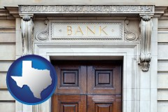 a bank building - with Texas icon