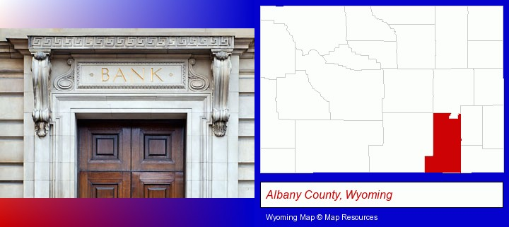 a bank building; Albany County, Wyoming highlighted in red on a map