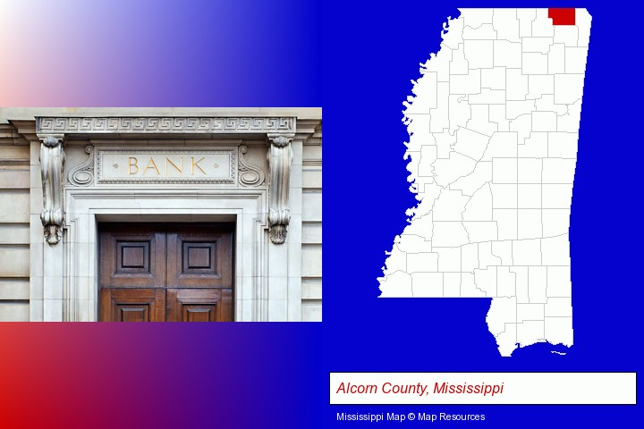 a bank building; Alcorn County, Mississippi highlighted in red on a map