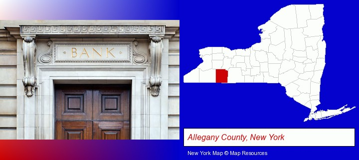 a bank building; Allegany County, New York highlighted in red on a map
