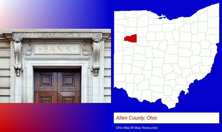 a bank building; Allen County, Ohio highlighted in red on a map
