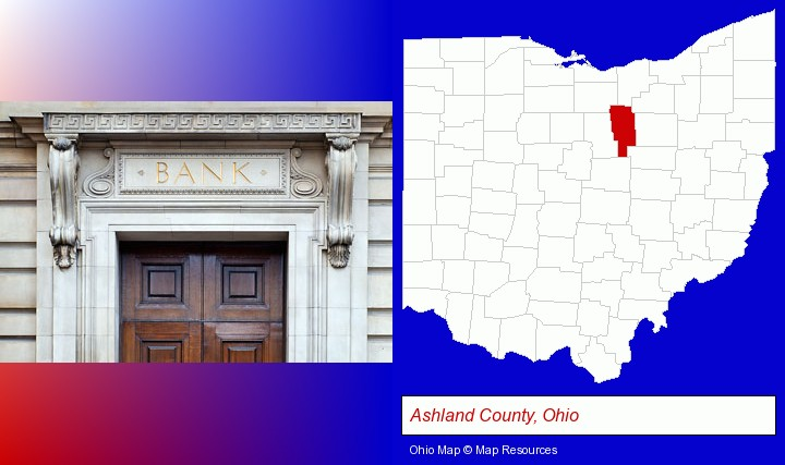 a bank building; Ashland County, Ohio highlighted in red on a map