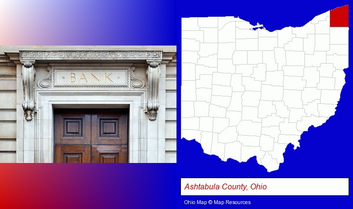 a bank building; Ashtabula County, Ohio highlighted in red on a map