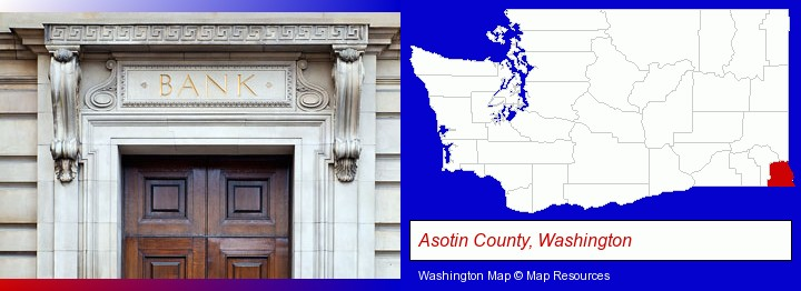 a bank building; Asotin County, Washington highlighted in red on a map