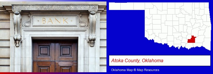 a bank building; Atoka County, Oklahoma highlighted in red on a map