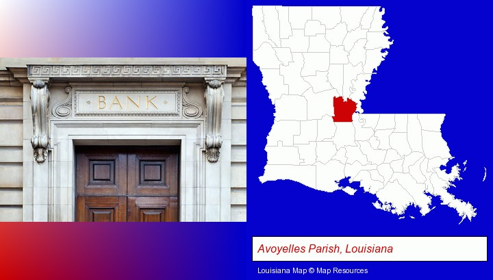 a bank building; Avoyelles Parish, Louisiana highlighted in red on a map
