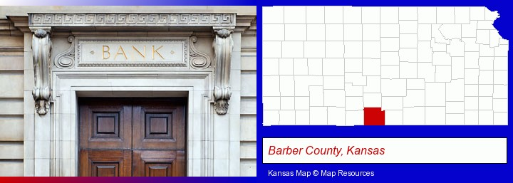 a bank building; Barber County, Kansas highlighted in red on a map
