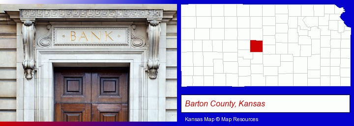 a bank building; Barton County, Kansas highlighted in red on a map