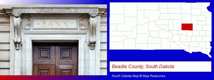 a bank building; Beadle County, South Dakota highlighted in red on a map