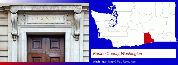 a bank building; Benton County, Washington highlighted in red on a map