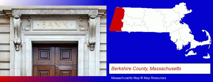 a bank building; Berkshire County, Massachusetts highlighted in red on a map