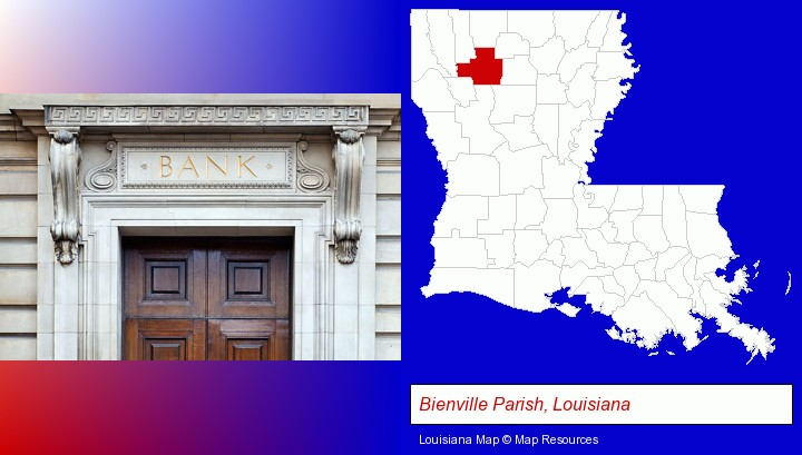 a bank building; Bienville Parish, Louisiana highlighted in red on a map