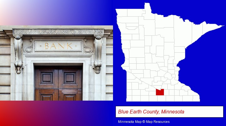 a bank building; Blue Earth County, Minnesota highlighted in red on a map