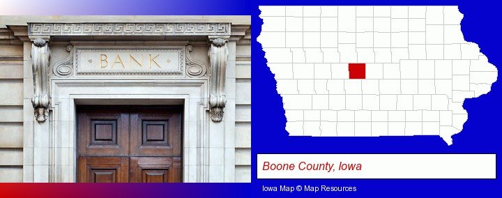 a bank building; Boone County, Iowa highlighted in red on a map