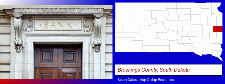 a bank building; Brookings County, South Dakota highlighted in red on a map