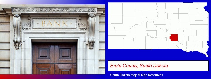 a bank building; Brule County, South Dakota highlighted in red on a map