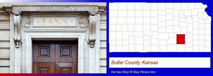 a bank building; Butler County, Kansas highlighted in red on a map