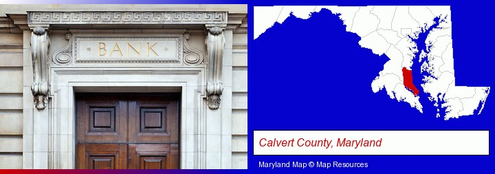 a bank building; Calvert County, Maryland highlighted in red on a map