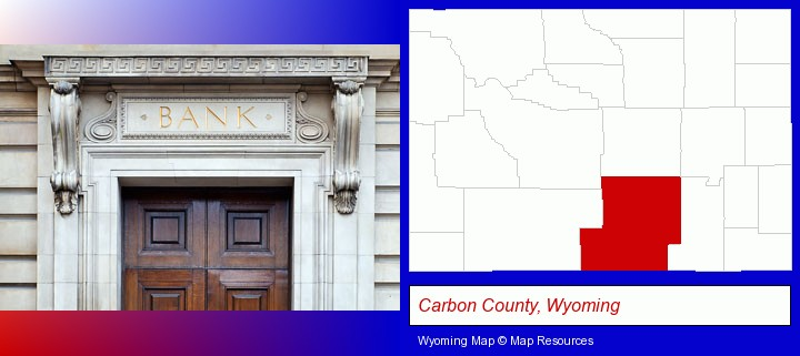 a bank building; Carbon County, Wyoming highlighted in red on a map