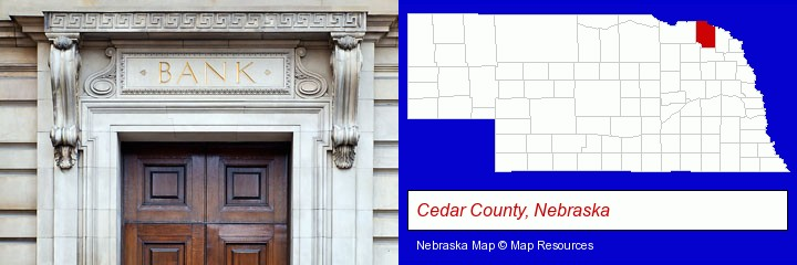 a bank building; Cedar County, Nebraska highlighted in red on a map