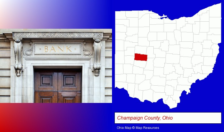 a bank building; Champaign County, Ohio highlighted in red on a map