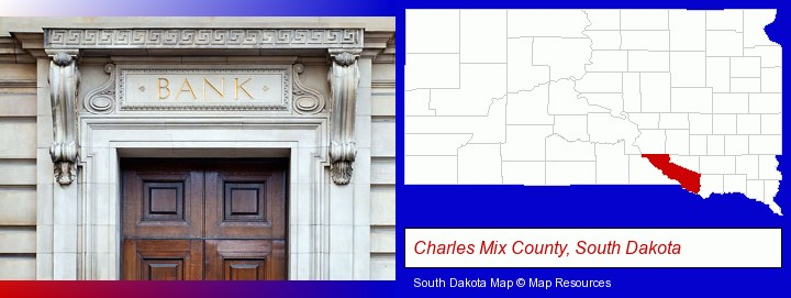 a bank building; Charles Mix County, South Dakota highlighted in red on a map