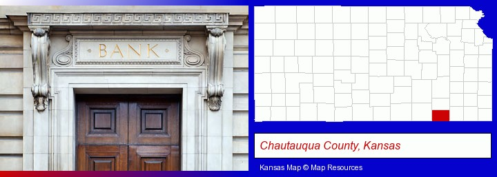 a bank building; Chautauqua County, Kansas highlighted in red on a map