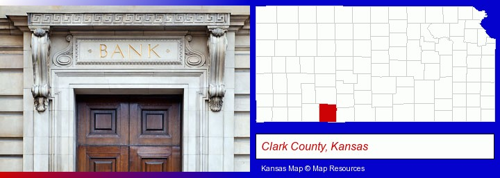 a bank building; Clark County, Kansas highlighted in red on a map
