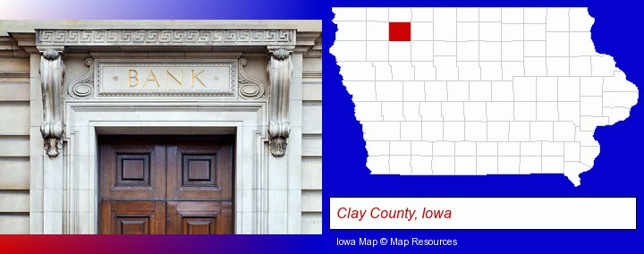 a bank building; Clay County, Iowa highlighted in red on a map