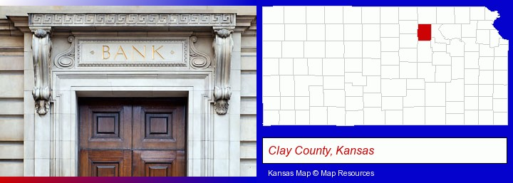 a bank building; Clay County, Kansas highlighted in red on a map