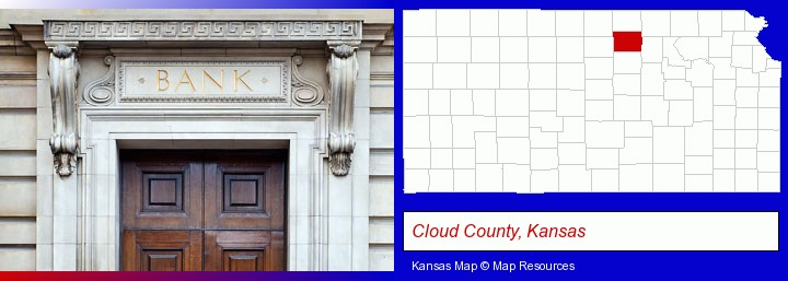 a bank building; Cloud County, Kansas highlighted in red on a map