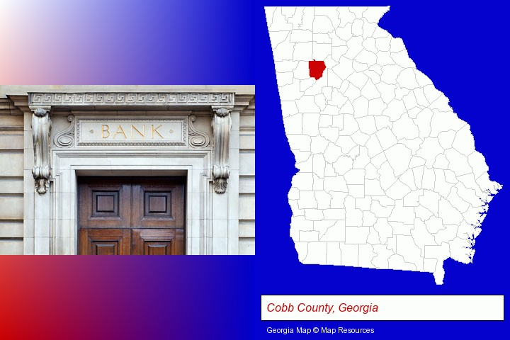 a bank building; Cobb County, Georgia highlighted in red on a map