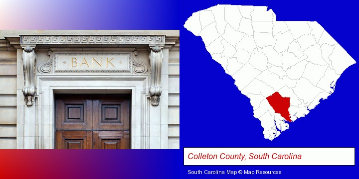 a bank building; Colleton County, South Carolina highlighted in red on a map
