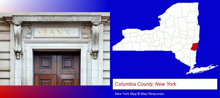 a bank building; Columbia County, New York highlighted in red on a map