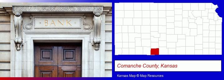 a bank building; Comanche County, Kansas highlighted in red on a map