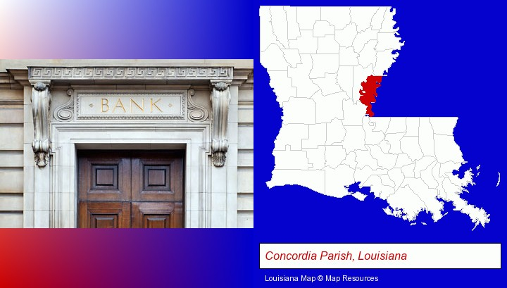 a bank building; Concordia Parish, Louisiana highlighted in red on a map