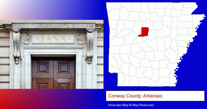 a bank building; Conway County, Arkansas highlighted in red on a map