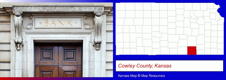 a bank building; Cowley County, Kansas highlighted in red on a map