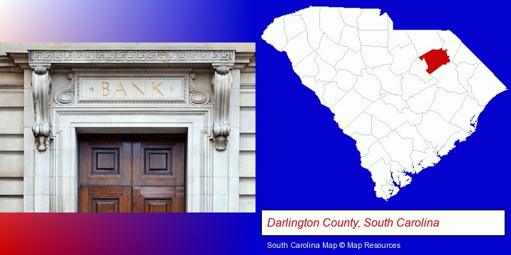 a bank building; Darlington County, South Carolina highlighted in red on a map