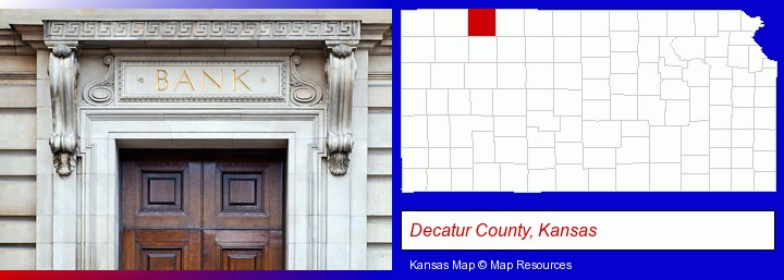 a bank building; Decatur County, Kansas highlighted in red on a map