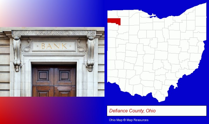 a bank building; Defiance County, Ohio highlighted in red on a map