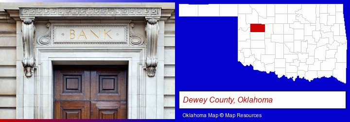 a bank building; Dewey County, Oklahoma highlighted in red on a map