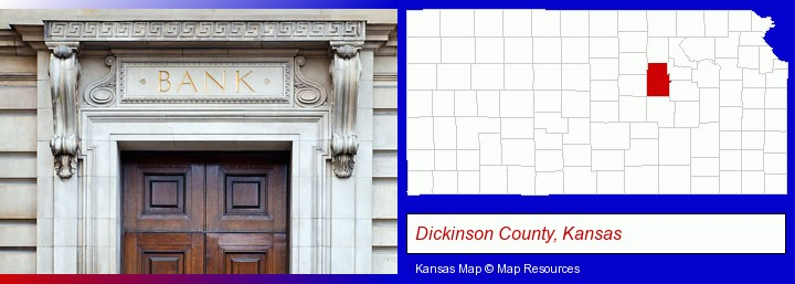 a bank building; Dickinson County, Kansas highlighted in red on a map