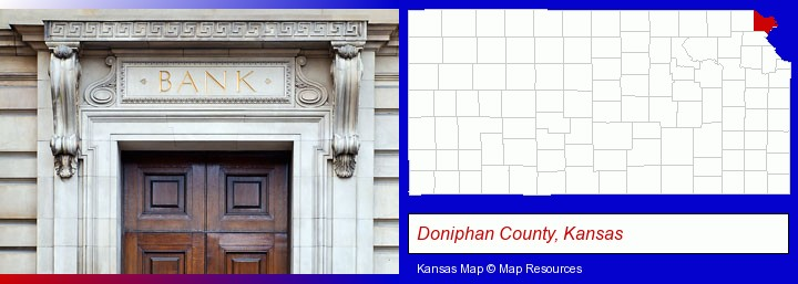 a bank building; Doniphan County, Kansas highlighted in red on a map
