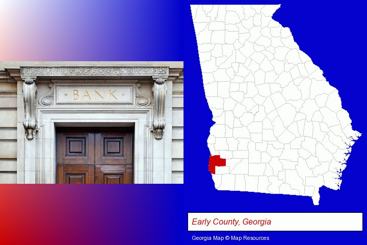 a bank building; Early County, Georgia highlighted in red on a map