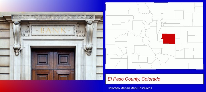 a bank building; El Paso County, Colorado highlighted in red on a map