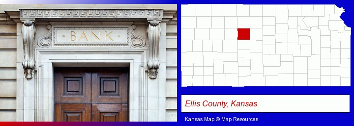a bank building; Ellis County, Kansas highlighted in red on a map