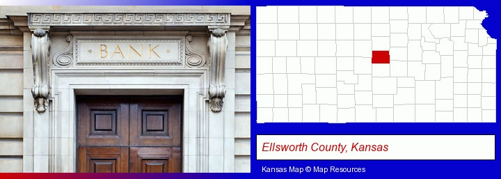 a bank building; Ellsworth County, Kansas highlighted in red on a map