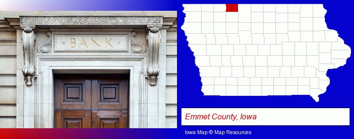 a bank building; Emmet County, Iowa highlighted in red on a map